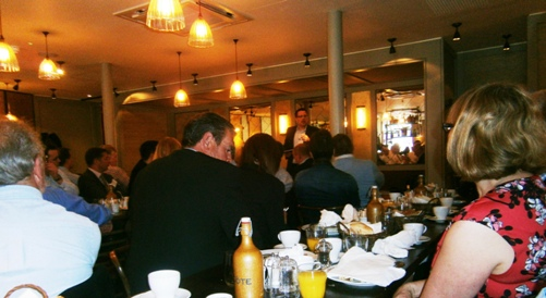 Mark Gracey talks to a packed house